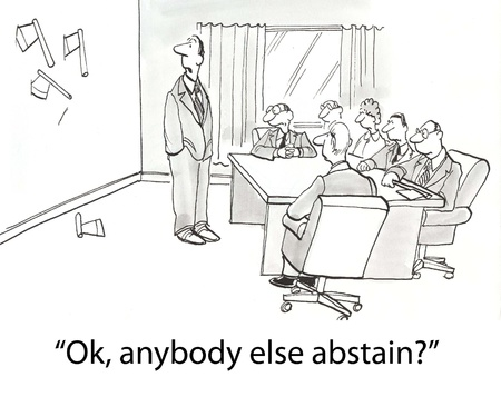 abstain: boardroom of executives throwing hatchets