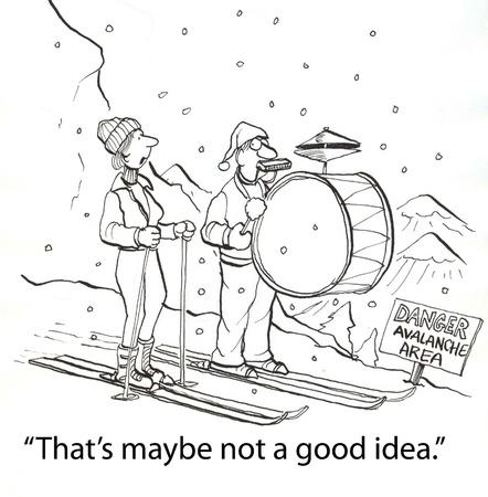 cymbol: skier with one man band