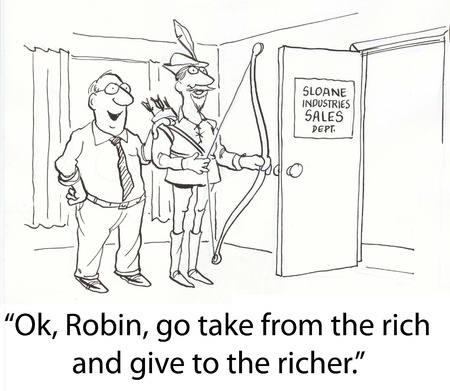 poor man: Robin Hood gives to rich Stock Photo