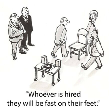 unemployed: applicants must walk around chairs