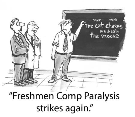 freshmen: english professor is frozen in place Stock Photo
