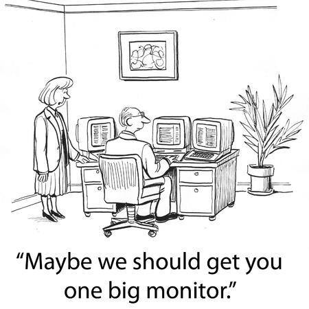jobs cartoon: accounting worker has many monitors