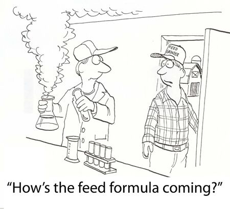 farmer scientist with feed mix