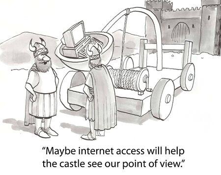 persuasive: vikings catapult computer into castle Stock Photo