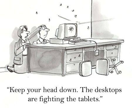 Werknemers zitten gevangen in een computer oorlog Stockfoto - 16860054