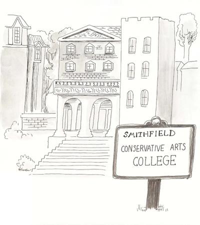 erhaltend: College mit einem konservativen gebogene Lizenzfreie Bilder