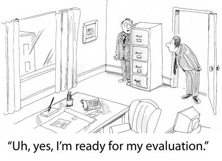 evaluacion: cueros ejecutivas en esquina de jefe Foto de archivo