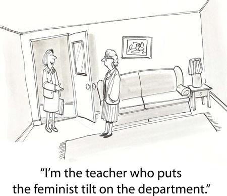 feminist teacher meets a new teacher Stock Photo