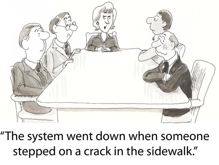 woman executive says system is down