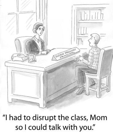 principal: son of principal wants to talk Stock Photo