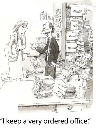 messy office: insegnante con disordinato ufficio si vanta Archivio Fotografico
