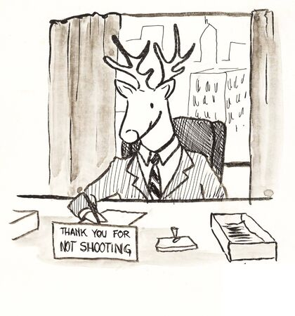deer boss with shooting sign Фото со стока