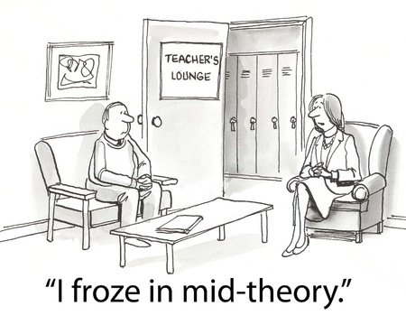 confiding: teacher in lounge talking about freezing