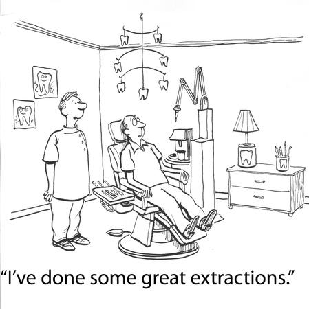 diente caricatura: dentista con los dientes grandes en la cadena