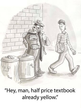 cheap: shady character sells cheap textbooks