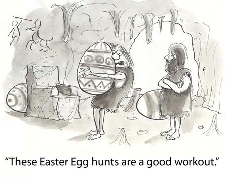 dinosaur egg: cavewoman struggles with dinosaur egg Stock Photo