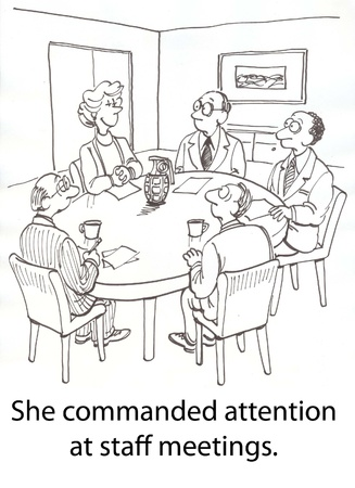 commanded: woman boss keeps meeting control Stock Photo