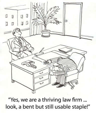 thriving: recruiting lawyer saves on staples Stock Photo