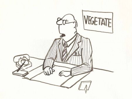 vegetate: boss sits in daze at desk