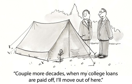 paid: executive lives in poor tent Stock Photo