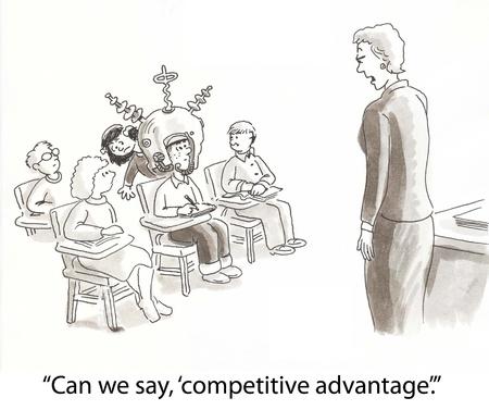 competitive advantage: teacher thinks student has advantage Stock Photo