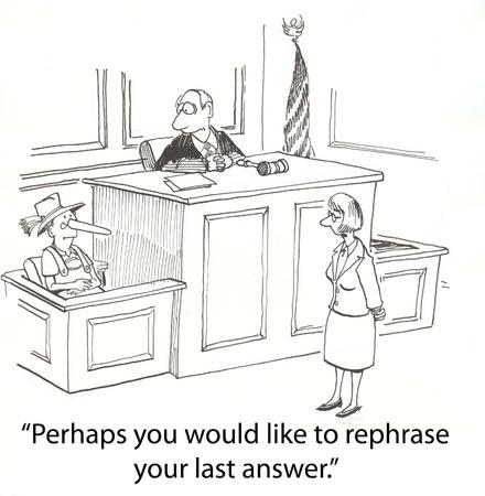 judge asks Pinnochio to tell truth