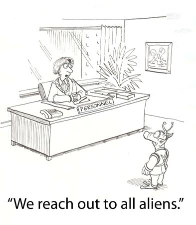 female boss greets an alien Stock Photo - 16860033