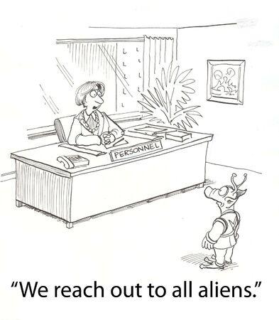 female boss greets an alien Stock Photo - 16860033