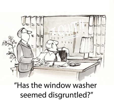 보스 창 세탁기에 대한 노동자 요청 스톡 콘텐츠