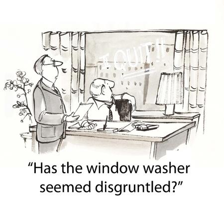 baas vraagt werknemer over glazenwasser Stockfoto