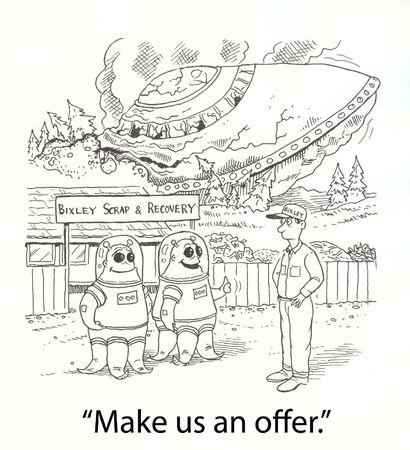 エイリアン、宇宙船を墜落契約