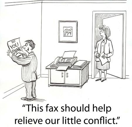 Chef bekommt in Kampf über Fax Standard-Bild - 16860199