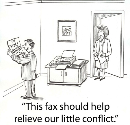 boss gets into fight over fax
