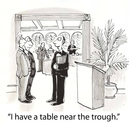 insulted: waiter offers a good table