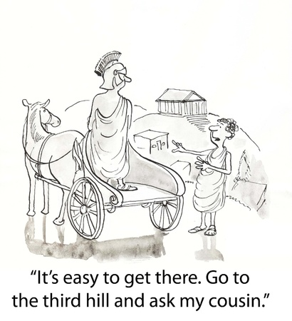roman gives directions to one in chariot