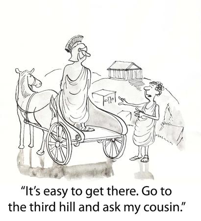Romeinse geeft aanwijzingen om een ??op de wagen Stockfoto - 16860081