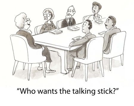 business cartoons: boss uses stick to decide who talks