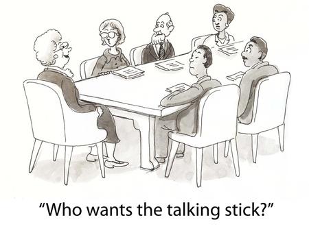 conversa: jefe utiliza bast�n para decidir qui�n habla Foto de archivo