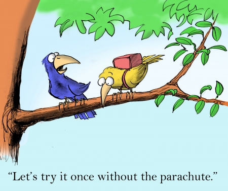 teamwork cartoon: Lets try it once without the parachute.