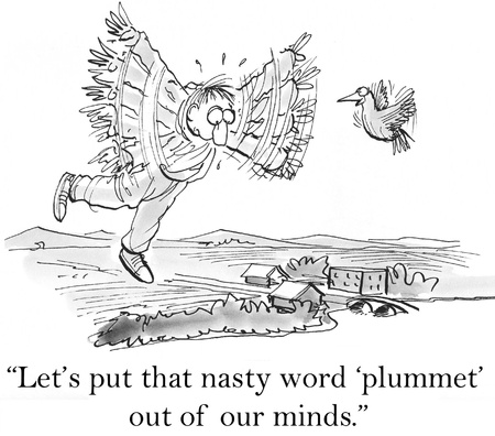 teamwork cartoon: Lets put that nasty word plummet out of our minds.