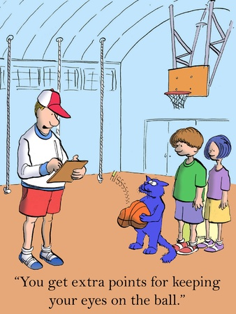 physical education: Ive got to dock your teamwork score for hogging the ball.