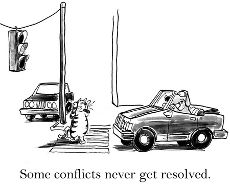 business cartoons: Some conflicts never get resolved between cat and dog. Stock Photo