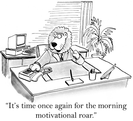 teamwork cartoon: Its time once gain for the morning motivational roar. Stock Photo