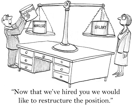 hired: Now that weve hired you wed like to restructure the position. Stock Photo