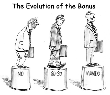 disappoint: The Evolution of the Bonus on pedestals. Stock Photo