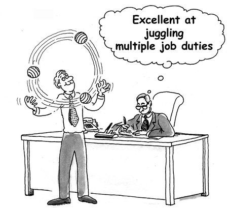 multitask: Excellent at juggling multiple job duties applicant. Stock Photo