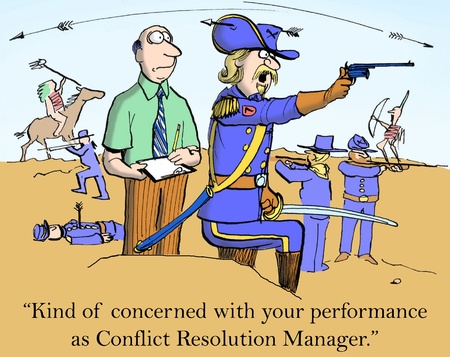 manager cartoon: Im concerned with your performance as Estimator of Enemy Numbers. Stock Photo