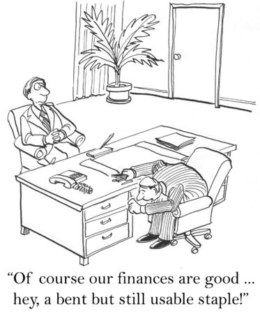 shaky: Of course our finances are good ... hey, a bent but still usable staple. Stock Photo