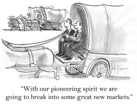 開拓者精神とは、いくつかの偉大な新しい市場に参入しようとしては。 写真素材