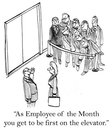 reconocimiento: Como empleado del mes de llegar a ser el primero en el ascensor. Foto de archivo